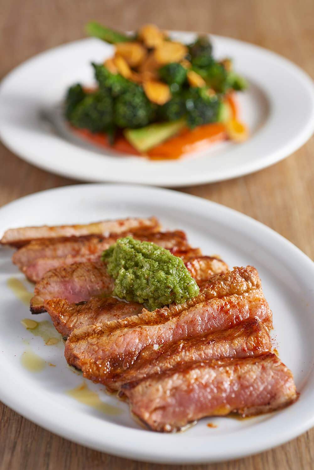 Presa Iberica 'seared pork' with mojo verde.